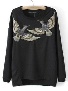 Black Dip Hem Long Sleeve Birds Embroidery Sweatshirt