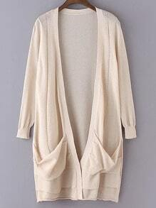 Beige Long Sleeve Pockets Cardigan Outerwear