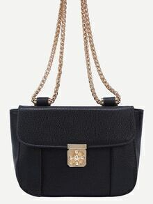 Embossed Turnlock Flap Bag With Chain - Black