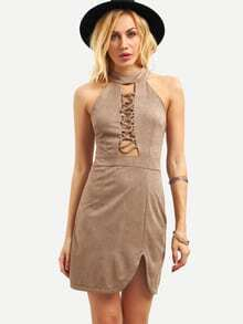 Faux Suede Halter Neck Lattice Front Dress - Khaki
