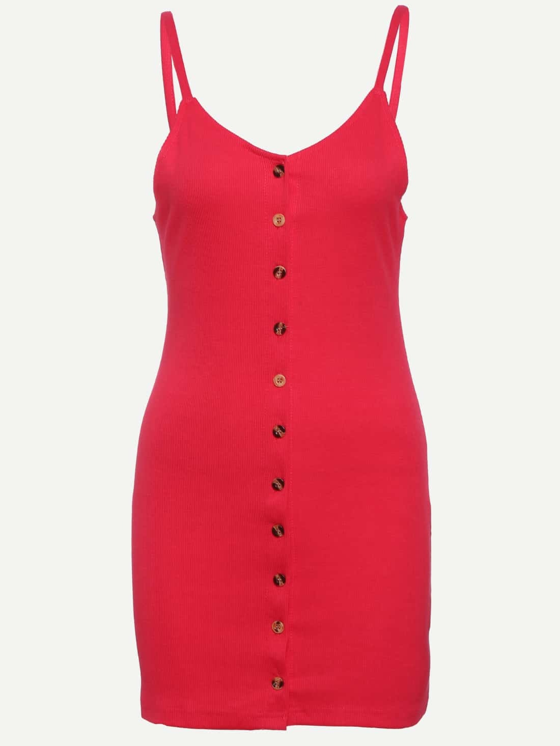 Buttoned Front Ribbed Cami Dress - Red