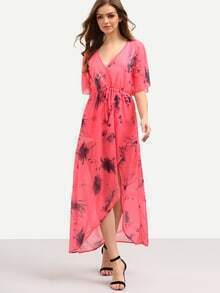 V-Neck High Waist Printed Asymmetric Chiffon Dress - Pink
