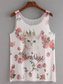 Cat & Rose Print Mesh Tank Top - White