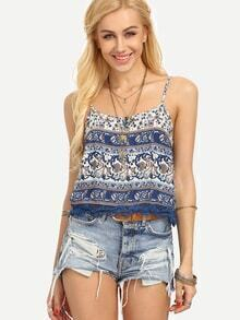 Lace Trimmed Flower Print Cami Top - Blue