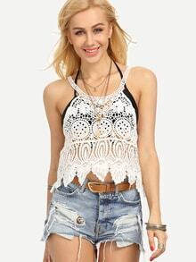 Hollow Out Crop Lace Top - White
