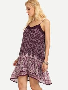 Lace Trimmed Vintage Print Swing Cami Dress - Purple