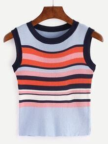 Colorful Striped Ribbed Knit Tank Top