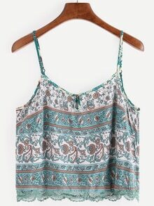 Lace Trimmed Flower Print Cami Top - Mint Green