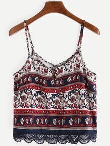 Lace Trimmed Flower Print Cami Top - Navy