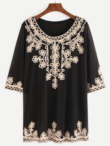 Flower Applique Embellished Blouse - Black