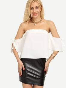 Off-The-Shoulder Tie-Sleeve Top - White