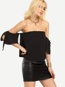 Off-The-Shoulder Tie-Sleeve Top - Black