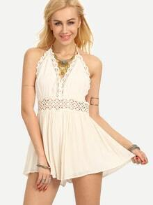 Halter Neck Backless Lace Insert Romper - Beige