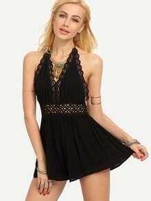Halter Neck Backless Lace Insert Romper - Black
