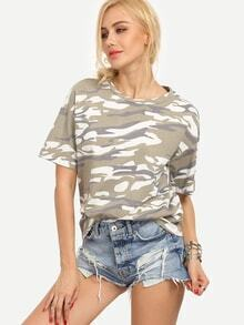 Drop Shoulder Camouflage Print T-shirt - Khaki
