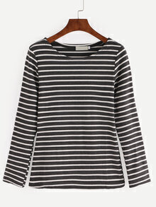 Black White Striped Elbow Patch T-shirt