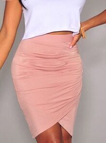 Pink Ruched Wrap Bodycon Skirt