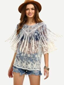 Fringe Embroidered Sheer Mesh Blouse - White