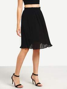 Ruffled Pleated Midi Skirt - Black