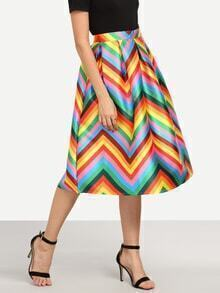 Colorful Chevron Print Box Pleated Midi Skirt