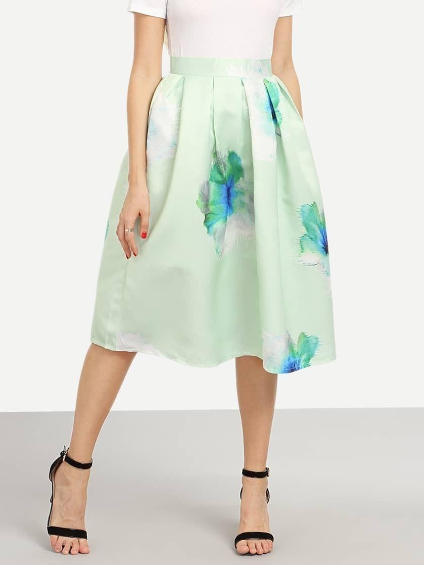 flower print box pleated midi skirt mint green