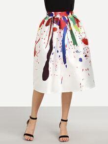 Multicolor Paint Splatter Print Box Pleated Midi Skirt