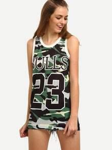 Varsity Print Camouflage Mesh Tank Top