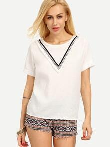 Embroidered Tape Embellished T-shirt - White