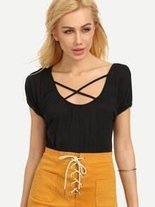 Lattice Neck T-shirt - Black