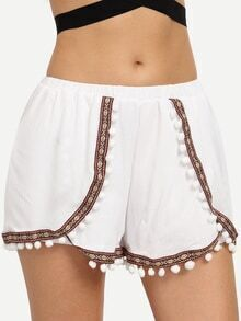 Pom-Pom Embroidered Tape Embellished Shorts - White