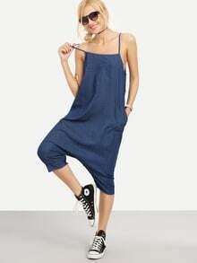 Pantalones tirante fino casual denim -azul