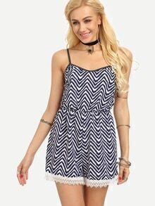 Lace Trimmed Chevron Print Cami Romper - Navy