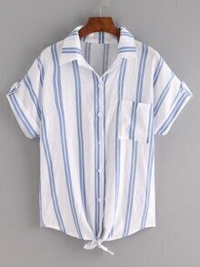Knot-Front Rolled Sleeve Blue Vertical Striped Blouse