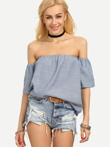 Off-The-Shoulder Vertical Striped Blouse - Blue
