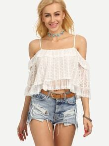 Cold Shoulder Crop Lace Top - White