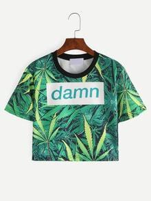 T-shirt court motif feuille