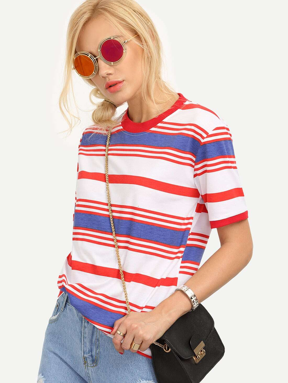 Ribbed Neck Colorful Striped T-shirt