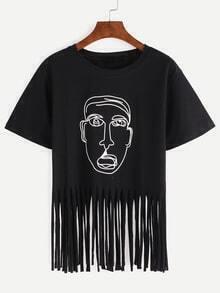 Cartoon Portrait Print Fringe T-shirt - Black