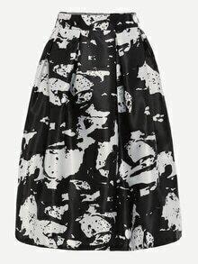 Black White Abstract Print Box Pleated Midi Skirt