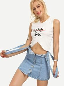 Letter Print Asymmetric Crop Tank Top - White