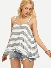 Layered Striped Chiffon Swing Cami Top - White