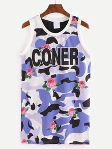 Multicolor Rose & Letter Print Camouflage Mesh Tank Top
