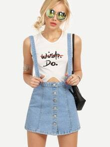 Buttoned Front Light Blue Overall Denim Dress