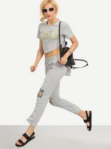 Letter Print Asymmetric T-shirt With Ripped Pants - Grey