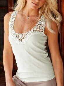 White Scoop Neck Lace Insert Sleeveless Top