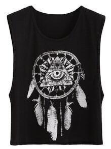Black Sexy Tribal Print Sleeveless Top