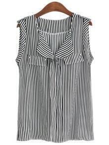 Black Striped Sleeveless Chiffon Blouse