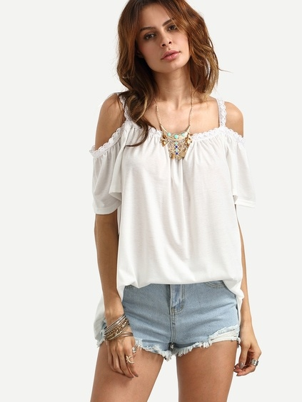 White Cold Shoulder Crochet-Trim Ruffle Blouse