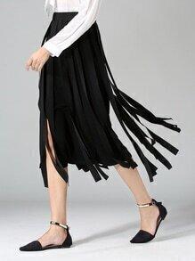 Black Elastic Waist Fringe Long Skirt