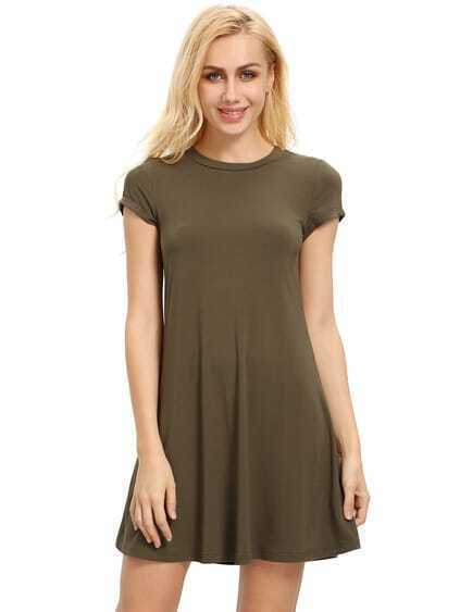 Olive Green Short Sleeve Shirt Cut Swing Dress